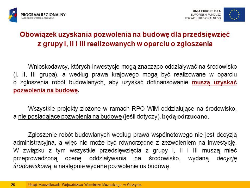 Obowiązek uzyskania pozwolenia na budowę dla przedsięwzięć z grupy I, II i III realizowanych w oparciu o zgłoszenia Wnioskodawcy, których inwestycje m