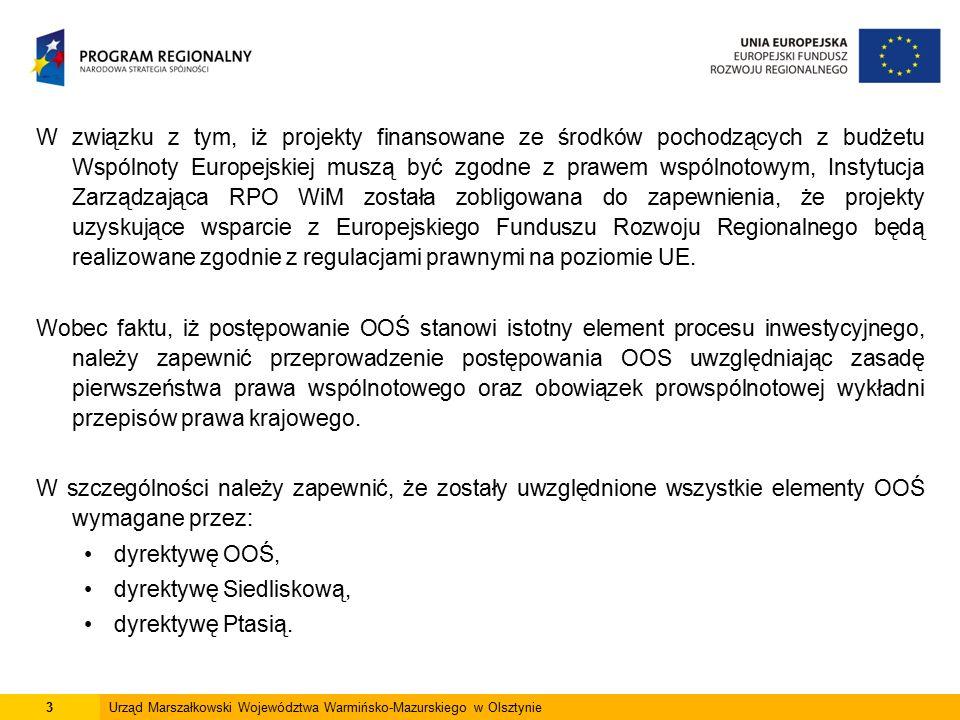 14Urząd Marszałkowski Województwa Warmińsko-Mazurskiego w Olsztynie Postępowanie OOŚ II III IV V I WNIOSEK SCREENING SCOPING WYKONANIE RAPORTU OOŚ PRZEDŁOŻENIE RAPORTU OOŚ proces oceny przez właściwy organ, czy dane przedsięwzięcie wymaga postępowania OOŚ określenie przez właściwy organ, zakresu niezbędnych informacji, które musi dostarczyć wykonawca