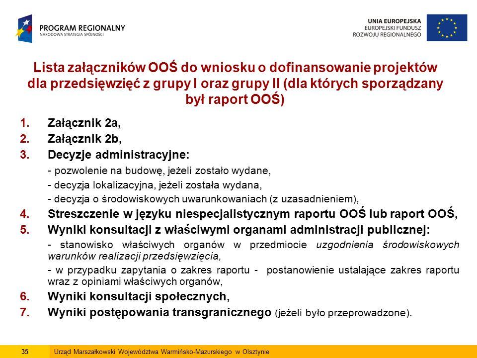 Lista załączników OOŚ do wniosku o dofinansowanie projektów dla przedsięwzięć z grupy I oraz grupy II (dla których sporządzany był raport OOŚ) 1.Załąc