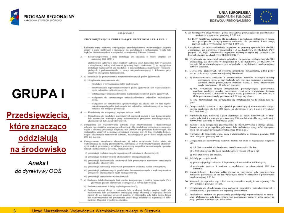 6Urząd Marszałkowski Województwa Warmińsko-Mazurskiego w Olsztynie GRUPA I Przedsięwzięcia, które znacząco oddziałują na środowisko Aneks I do dyrekty