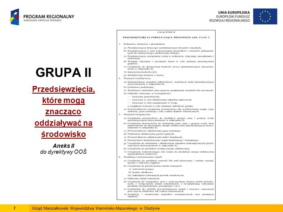 7Urząd Marszałkowski Województwa Warmińsko-Mazurskiego w Olsztynie GRUPA II Przedsięwzięcia, które mogą znacząco oddziaływać na środowisko Aneks II do dyrektywy OOŚ