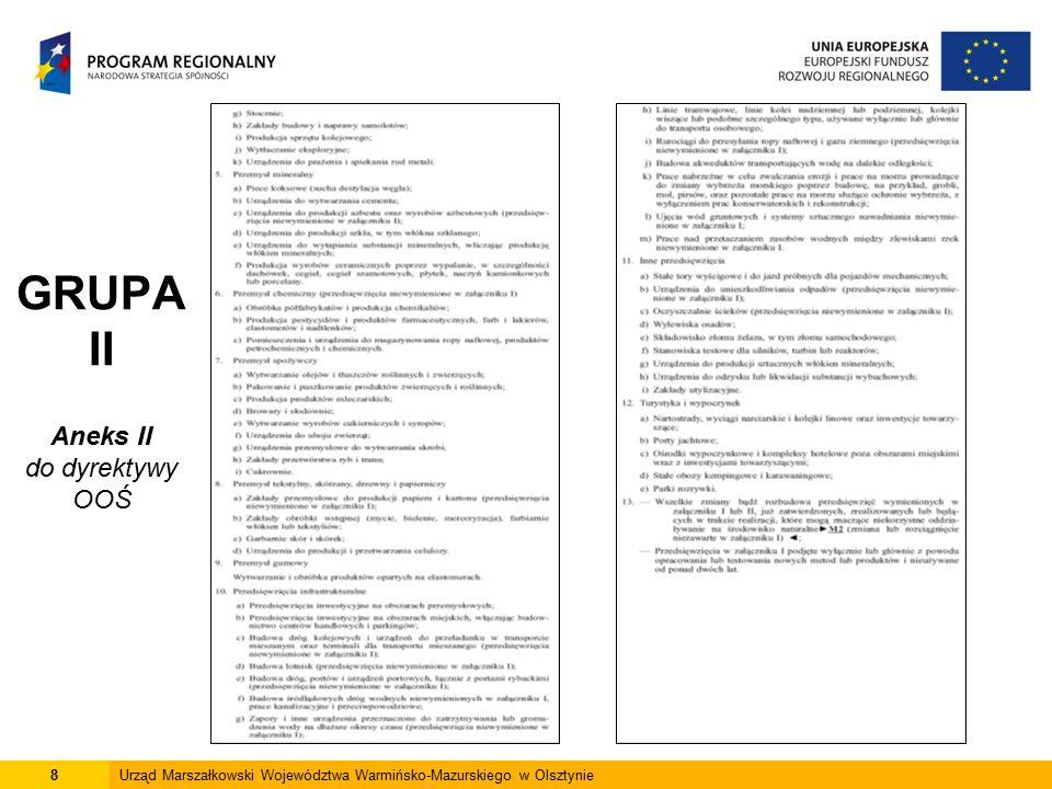 19Urząd Marszałkowski Województwa Warmińsko-Mazurskiego w Olsztynie Inwestor przedstawia wójtowi, burmistrzowi lub prezydentowi miasta wniosek o wydanie decyzji środowiskowej, załączając raport w zakresie określonym w ustawie Wójt, burmistrz lub prezydent miasta 1.podaje do publicznej wiadomości informację o planowanym przedsięwzięciu i możliwości składania uwag i wniosków, 2.występuje z wnioskiem do marszałka województwa i wojewódzkiego inspektora sanitarnego, w trybie art.