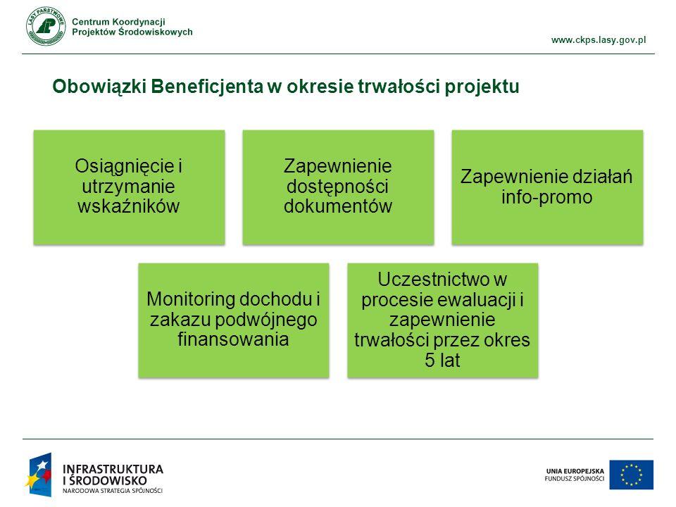 www.ckps.lasy.gov.pl Obowiązki Beneficjenta w okresie trwałości projektu Osiągnięcie i utrzymanie wskaźników Zapewnienie dostępności dokumentów Zapewnienie działań info-promo Monitoring dochodu i zakazu podwójnego finansowania Uczestnictwo w procesie ewaluacji i zapewnienie trwałości przez okres 5 lat