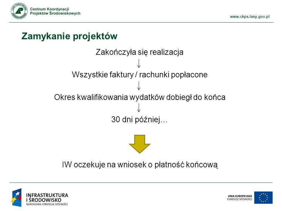 www.ckps.lasy.gov.pl Zamykanie projektów Zakończyła się realizacja Wszystkie faktury / rachunki popłacone Okres kwalifikowania wydatków dobiegł do końca 30 dni później… IW oczekuje na wniosek o płatność końcową