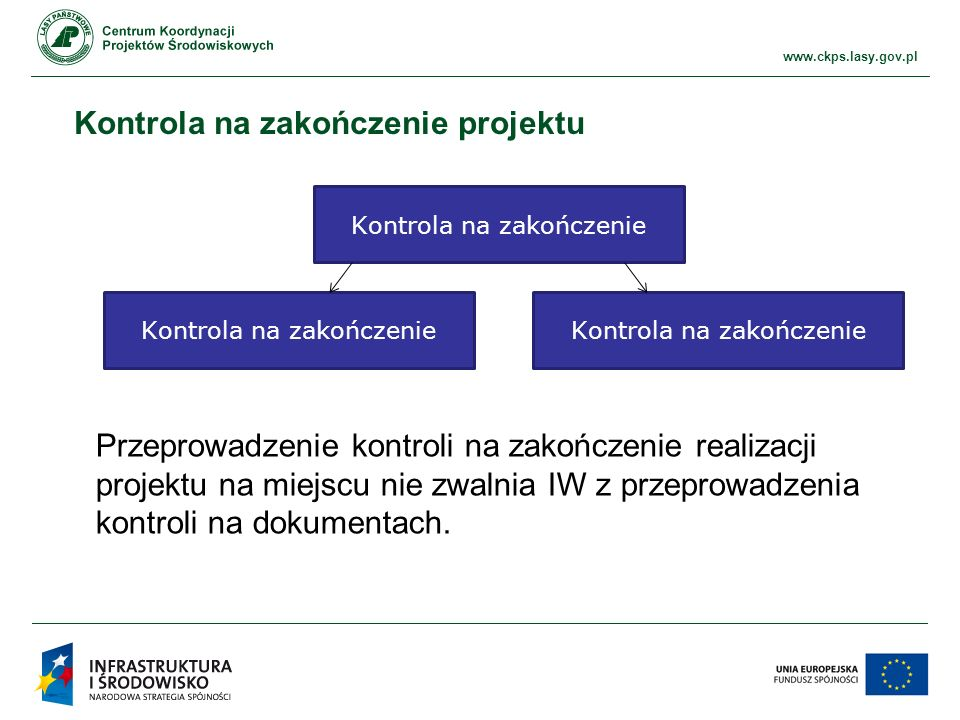 www.ckps.lasy.gov.pl Kontrola na zakończenie projektu Kontrola na zakończenie Przeprowadzenie kontroli na zakończenie realizacji projektu na miejscu nie zwalnia IW z przeprowadzenia kontroli na dokumentach.