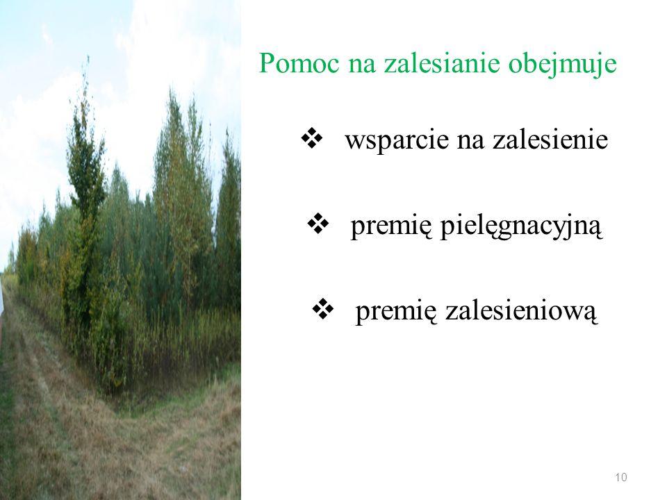 wsparcie na zalesienie Wsparcie na zalesienie — stanowi jednorazową, zryczałtowaną płatność z tytułu poniesionych kosztów zalesienia i ewentualnego ogrodzenia uprawy leśnej w przeliczeniu na hektar zalesionych gruntów, wypłacaną w pierwszym roku, licząc od dnia wykonania zalesienia.