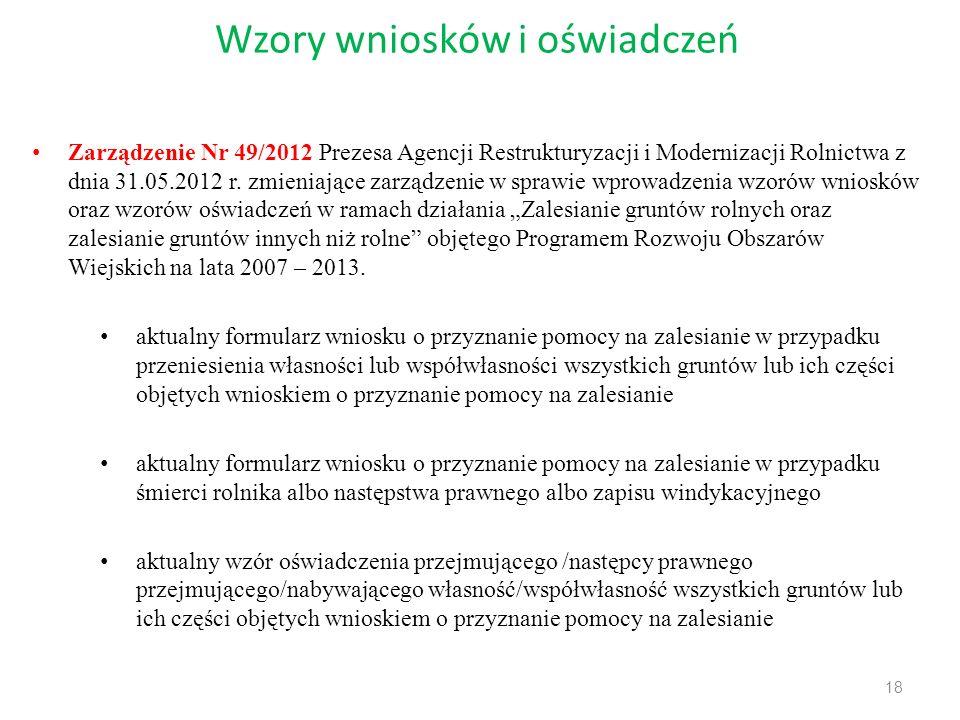 Wzory wniosków i oświadczeń 18 Zarządzenie Nr 49/2012 Prezesa Agencji Restrukturyzacji i Modernizacji Rolnictwa z dnia 31.05.2012 r. zmieniające zarzą
