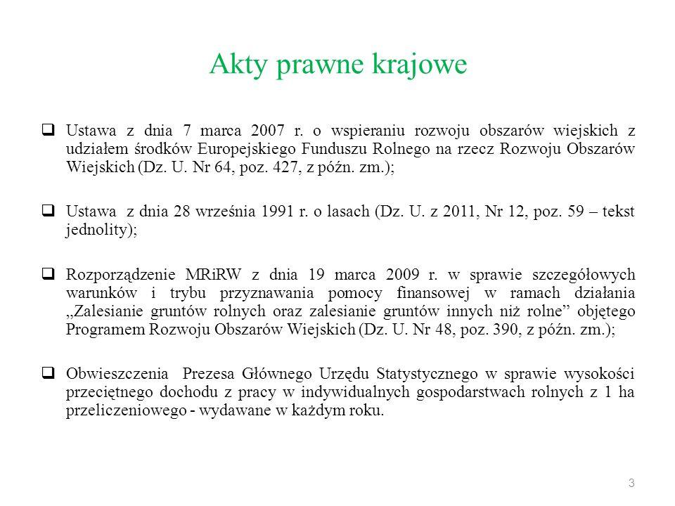 Akty prawne krajowe  Ustawa z dnia 7 marca 2007 r. o wspieraniu rozwoju obszarów wiejskich z udziałem środków Europejskiego Funduszu Rolnego na rzecz