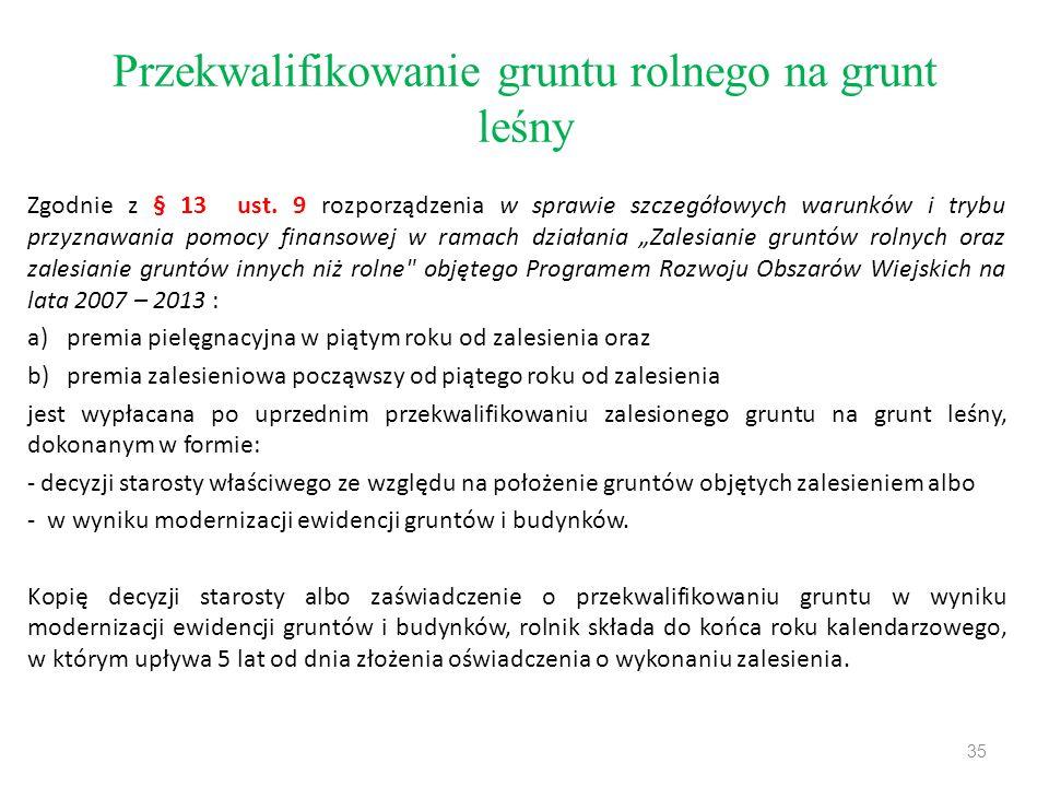 Przekwalifikowanie gruntu rolnego na grunt leśny Zgodnie z § 13 ust.