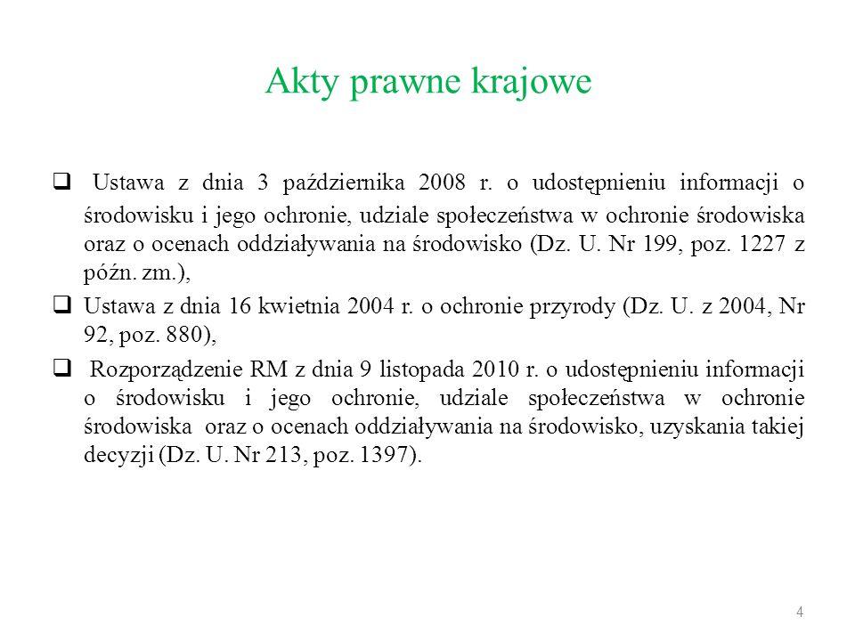 Akty prawne krajowe  Ustawa z dnia 3 października 2008 r. o udostępnieniu informacji o środowisku i jego ochronie, udziale społeczeństwa w ochronie ś
