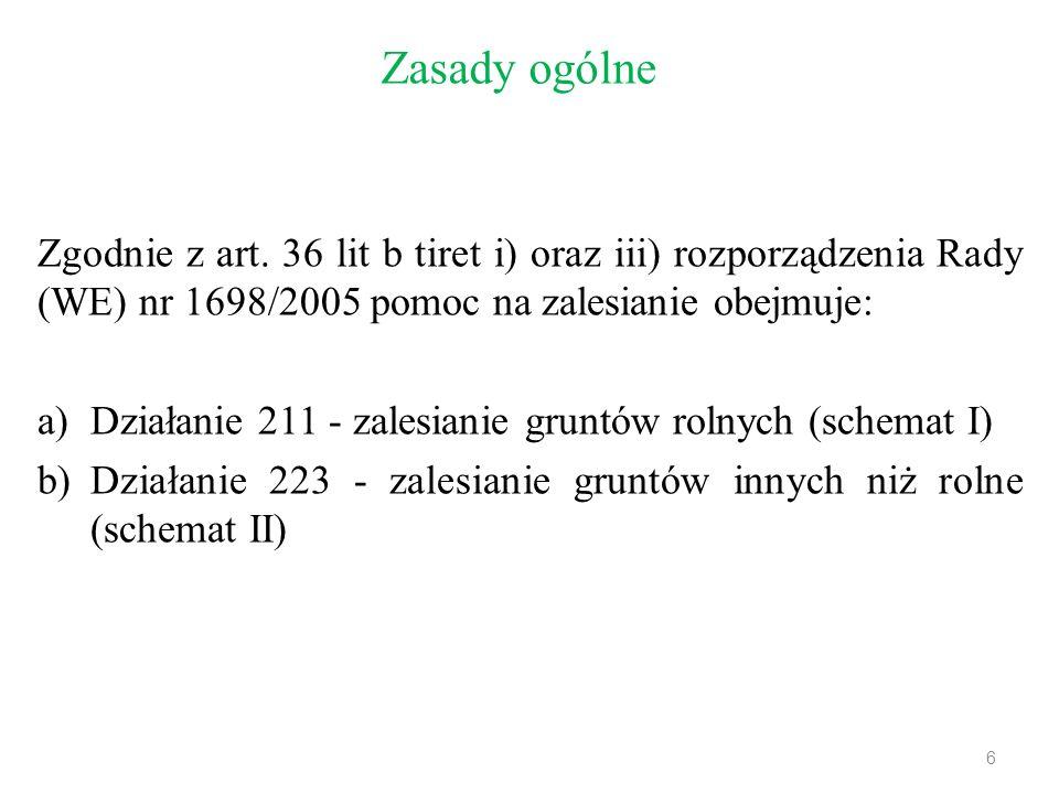 Zasady ogólne Zgodnie z art. 36 lit b tiret i) oraz iii) rozporządzenia Rady (WE) nr 1698/2005 pomoc na zalesianie obejmuje: a)Działanie 211 - zalesia