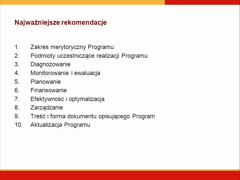 Najważniejsze rekomendacje 1.Zakres merytoryczny Programu 2.Podmioty uczestniczące realizacji Programu 3.Diagnozowanie 4.Monitorowanie i ewaluacja 5.Planowanie 6.Finansowanie 7.Efektywność i optymalizacja 8.Zarządzanie 9.Treść i forma dokumentu opisującego Program 10.Aktualizacja Programu