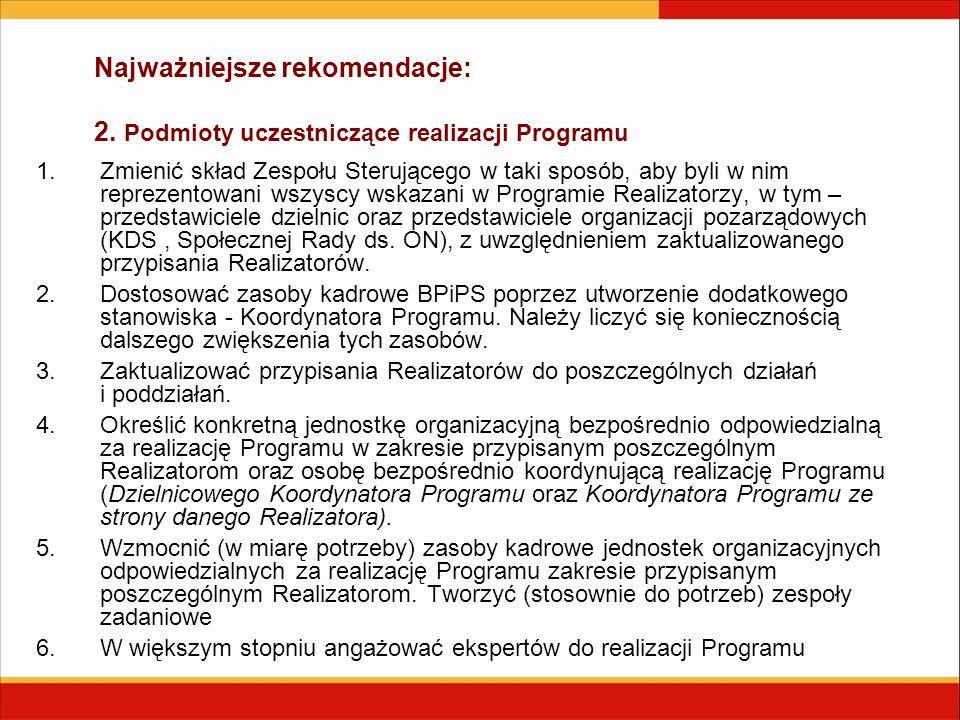 Najważniejsze rekomendacje: 2. Podmioty uczestniczące realizacji Programu 1.Zmienić skład Zespołu Sterującego w taki sposób, aby byli w nim reprezento