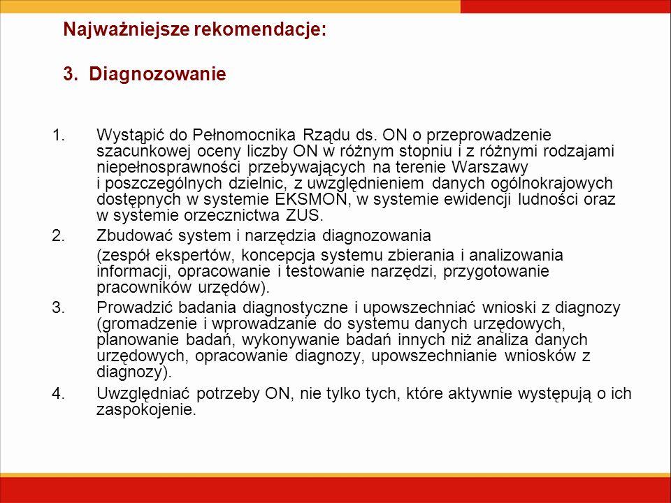 Najważniejsze rekomendacje: 3. Diagnozowanie 1.Wystąpić do Pełnomocnika Rządu ds. ON o przeprowadzenie szacunkowej oceny liczby ON w różnym stopniu i