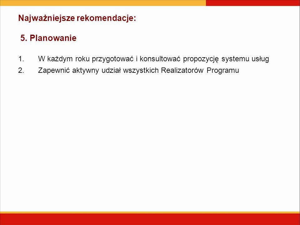 Najważniejsze rekomendacje: 5. Planowanie 1.W każdym roku przygotować i konsultować propozycję systemu usług 2.Zapewnić aktywny udział wszystkich Real