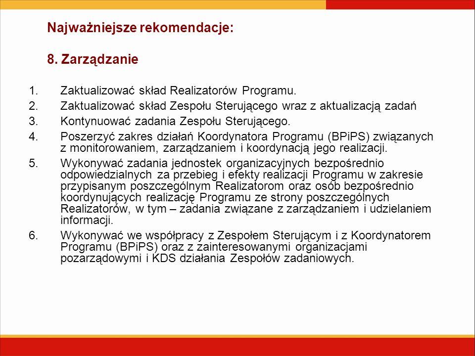 Najważniejsze rekomendacje: 8. Zarządzanie 1.Zaktualizować skład Realizatorów Programu. 2.Zaktualizować skład Zespołu Sterującego wraz z aktualizacją