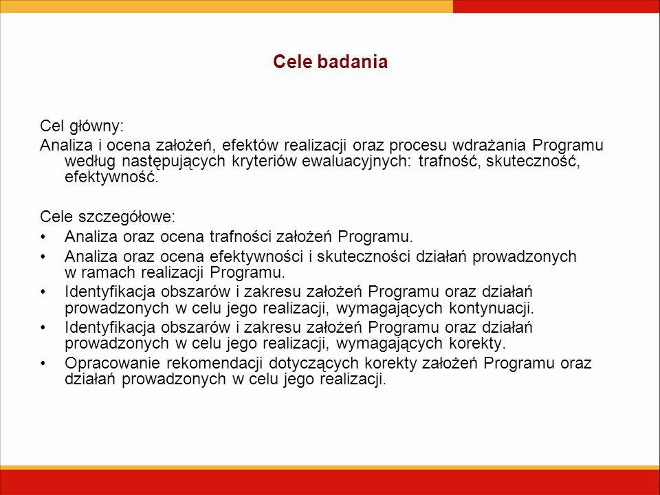 Cele badania Cel główny: Analiza i ocena założeń, efektów realizacji oraz procesu wdrażania Programu według następujących kryteriów ewaluacyjnych: trafność, skuteczność, efektywność.