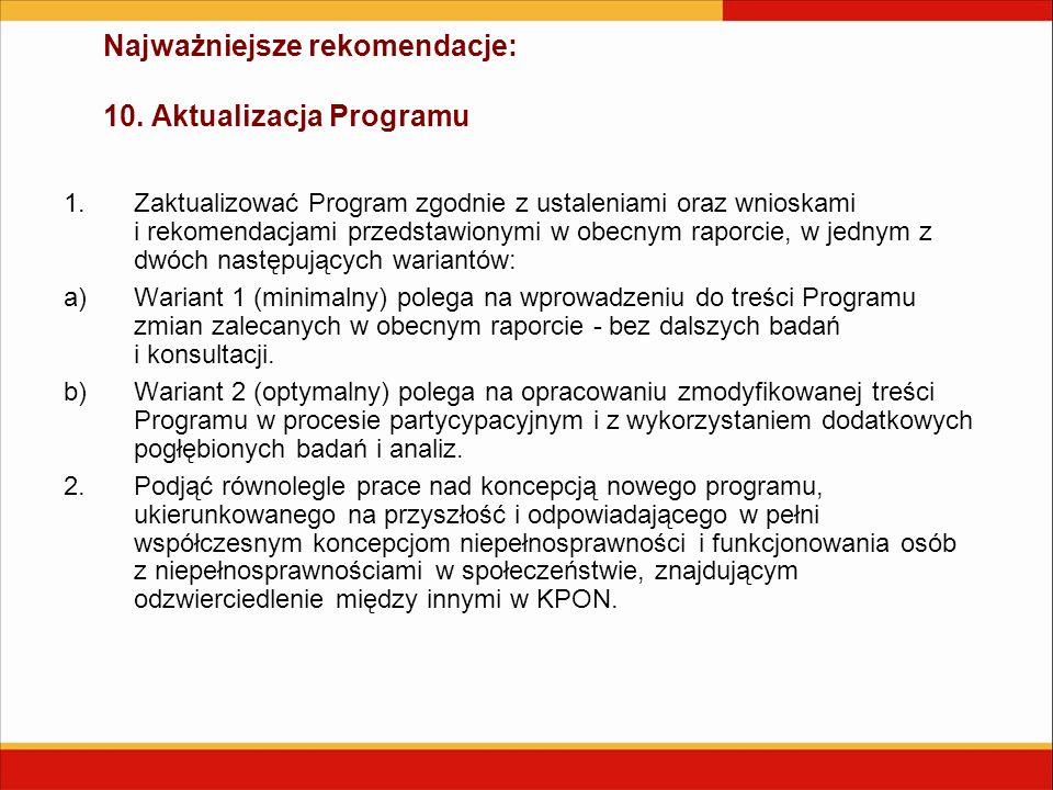 Najważniejsze rekomendacje: 10. Aktualizacja Programu 1.Zaktualizować Program zgodnie z ustaleniami oraz wnioskami i rekomendacjami przedstawionymi w