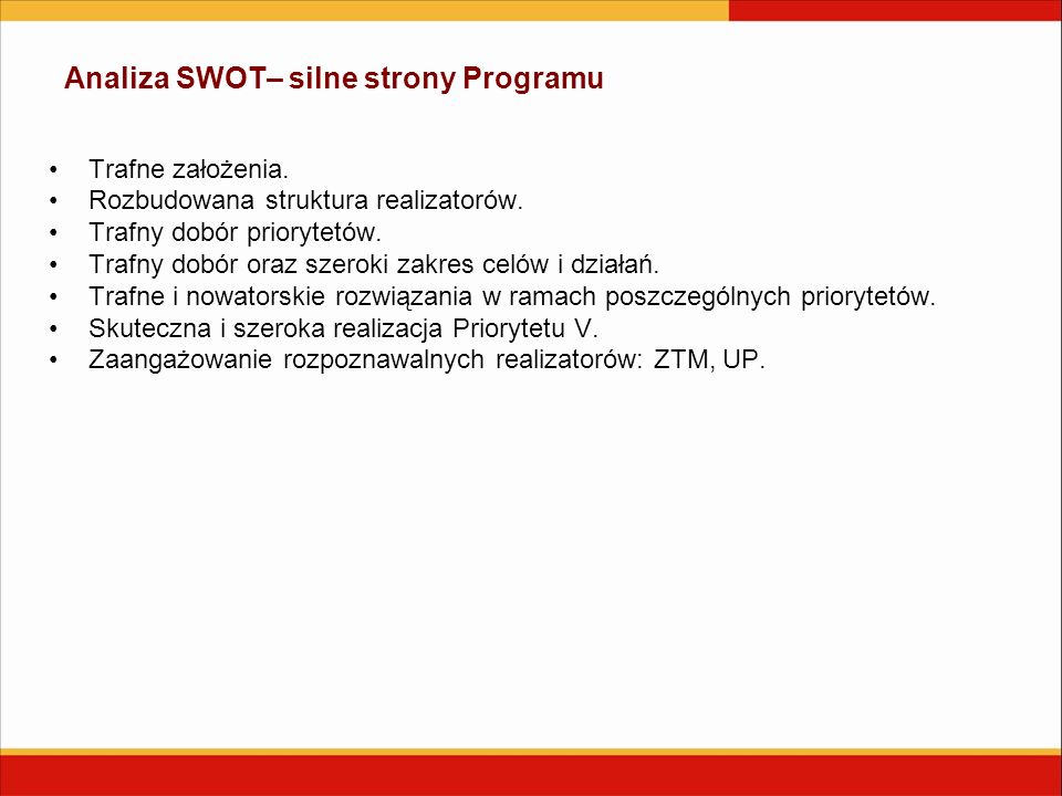 Analiza SWOT– silne strony Programu Trafne założenia. Rozbudowana struktura realizatorów. Trafny dobór priorytetów. Trafny dobór oraz szeroki zakres c