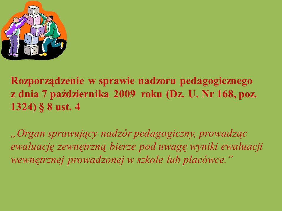 """Rozporządzenie w sprawie nadzoru pedagogicznego z dnia 7 października 2009 roku (Dz. U. Nr 168, poz. 1324) § 8 ust. 4 """"Organ sprawujący nadzór pedagog"""