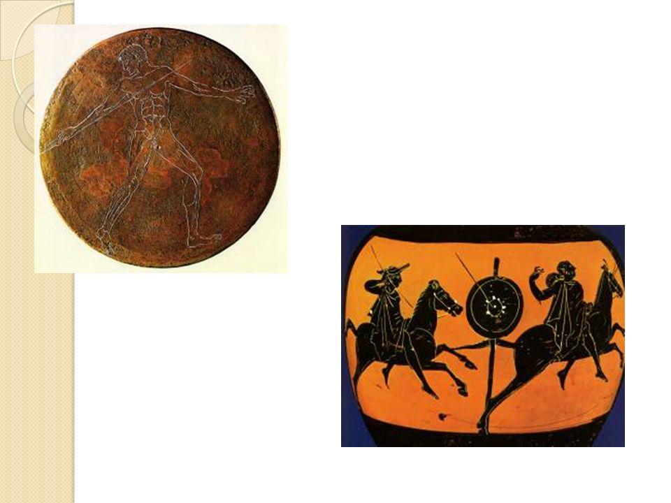 Rzut dyskiem: wszyscy zawodnicy używali jednakowych dysków przechowywanych w olimpijskim skarbcu Sykiończyków.