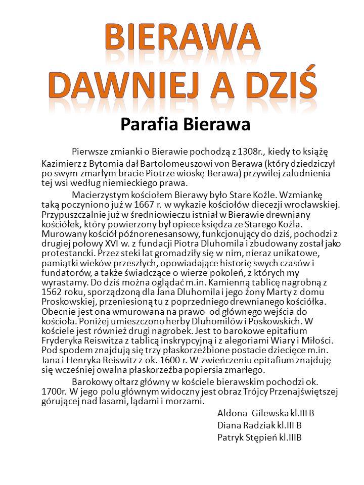 Parafia Bierawa Pierwsze zmianki o Bierawie pochodzą z 1308r., kiedy to książę Kazimierz z Bytomia dał Bartolomeuszowi von Berawa (który dziedziczył po swym zmarłym bracie Piotrze wioskę Berawa) przywilej zaludnienia tej wsi według niemieckiego prawa.