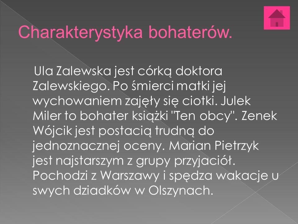 Ula Zalewska jest córką doktora Zalewskiego. Po śmierci matki jej wychowaniem zajęły się ciotki.