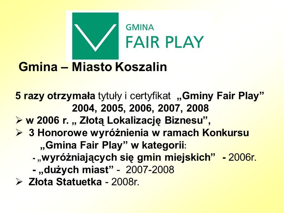 """Gmina – Miasto Koszalin 5 razy otrzymała tytuły i certyfikat """"Gminy Fair Play 2004, 2005, 2006, 2007, 2008  w 2006 r."""