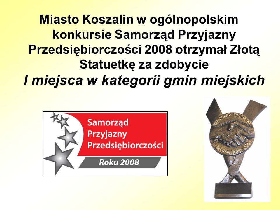 Miasto Koszalin w ogólnopolskim konkursie Samorząd Przyjazny Przedsiębiorczości 2008 otrzymał Złotą Statuetkę za zdobycie I miejsca w kategorii gmin miejskich