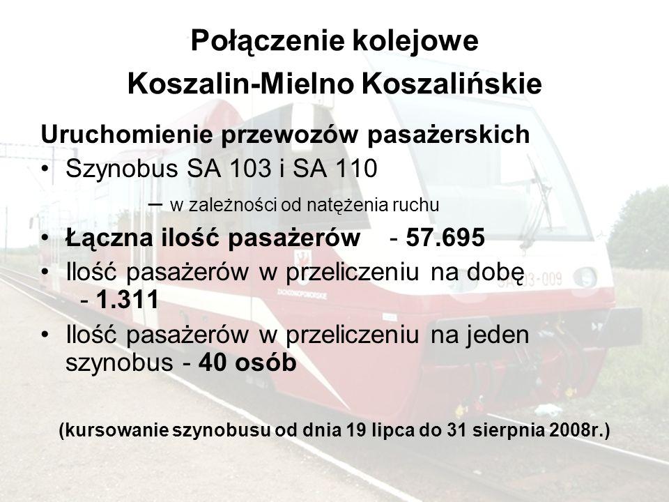 Połączenie kolejowe Koszalin-Mielno Koszalińskie Uruchomienie przewozów pasażerskich Szynobus SA 103 i SA 110 – w zależności od natężenia ruchu Łączna ilość pasażerów - 57.695 Ilość pasażerów w przeliczeniu na dobę - 1.311 Ilość pasażerów w przeliczeniu na jeden szynobus - 40 osób (kursowanie szynobusu od dnia 19 lipca do 31 sierpnia 2008r.)