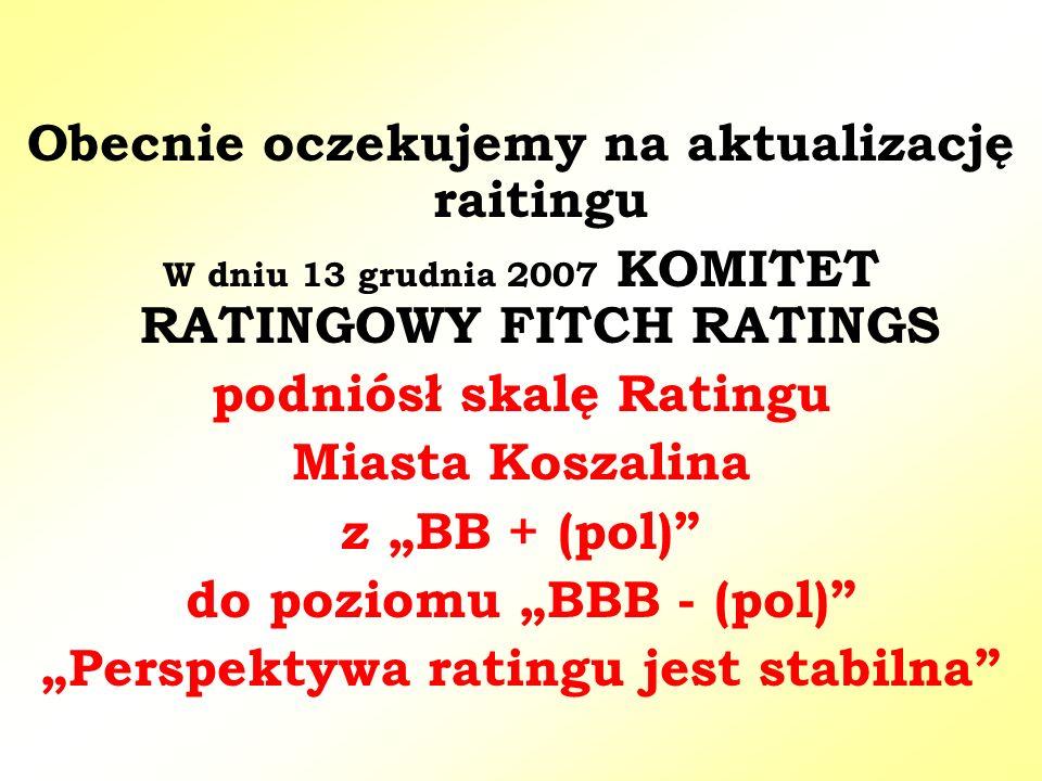 """Obecnie oczekujemy na aktualizację raitingu W dniu 13 grudnia 2007 KOMITET RATINGOWY FITCH RATINGS podniósł skalę Ratingu Miasta Koszalina z """"BB + (pol) do poziomu """"BBB - (pol) """"Perspektywa ratingu jest stabilna"""
