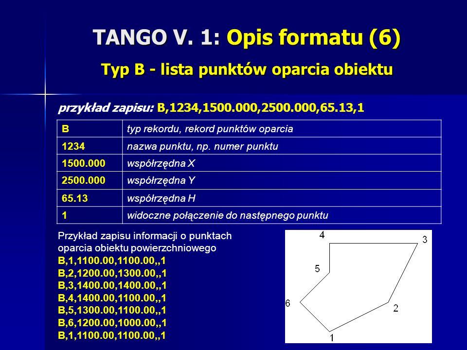 TANGO V. 1: Opis formatu (6) Typ B - lista punktów oparcia obiektu przykład zapisu: B,1234,1500.000,2500.000,65.13,1 Btyp rekordu, rekord punktów opar