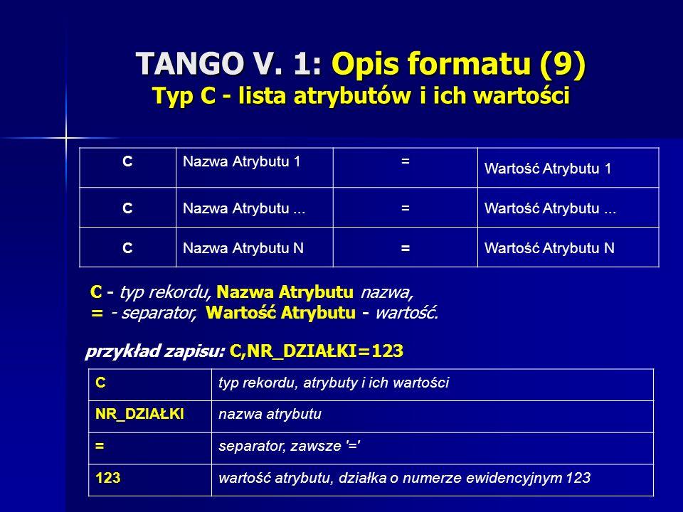 TANGO V. 1: Opis formatu (9) Typ C - lista atrybutów i ich wartości CNazwa Atrybutu 1= Wartość Atrybutu 1 CNazwa Atrybutu...=Wartość Atrybutu... CNazw