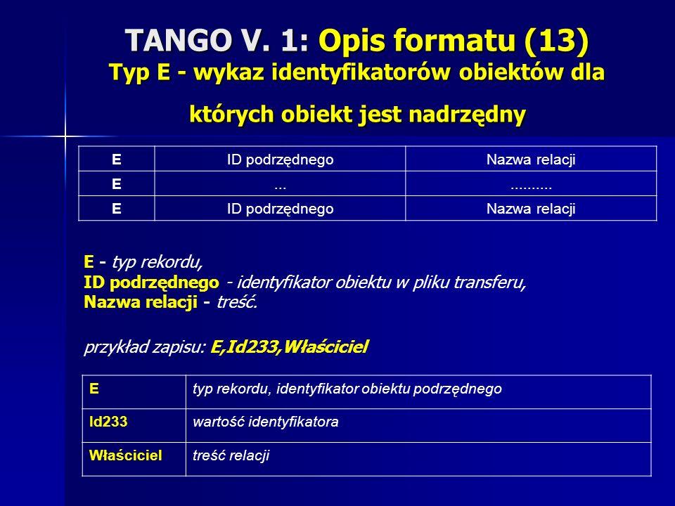 TANGO V. 1: Opis formatu (13) Typ E - wykaz identyfikatorów obiektów dla których obiekt jest nadrzędny EID podrzędnegoNazwa relacji E............. EID