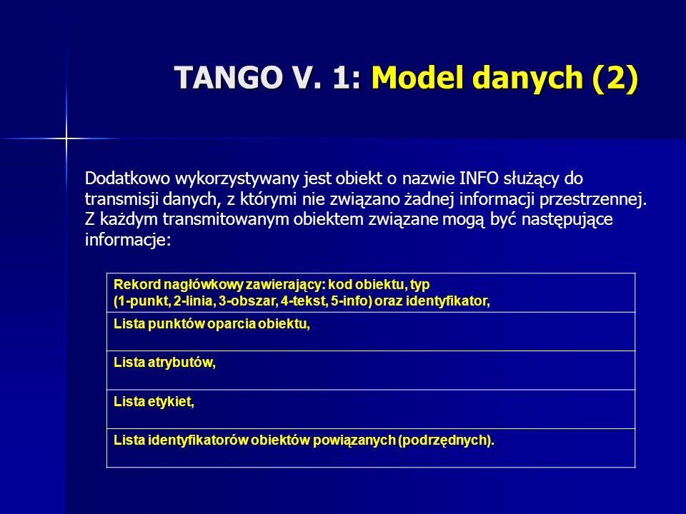 TANGO V. 1: Model danych (2) Dodatkowo wykorzystywany jest obiekt o nazwie INFO służący do transmisji danych, z którymi nie związano żadnej informacji