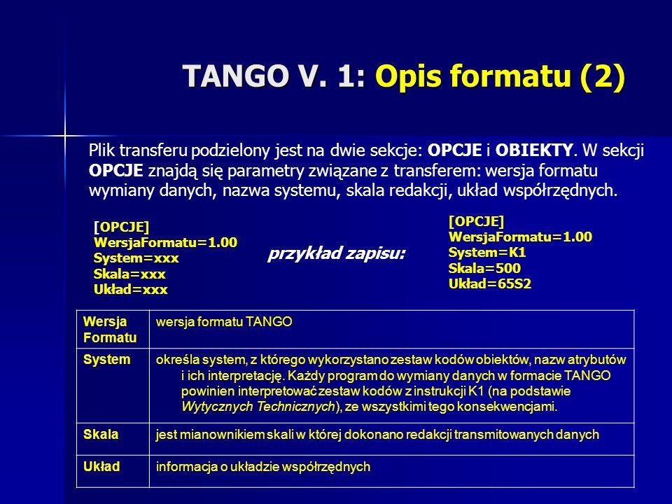 TANGO V. 1: Opis formatu (2) Plik transferu podzielony jest na dwie sekcje: OPCJE i OBIEKTY. W sekcji OPCJE znajdą się parametry związane z transferem