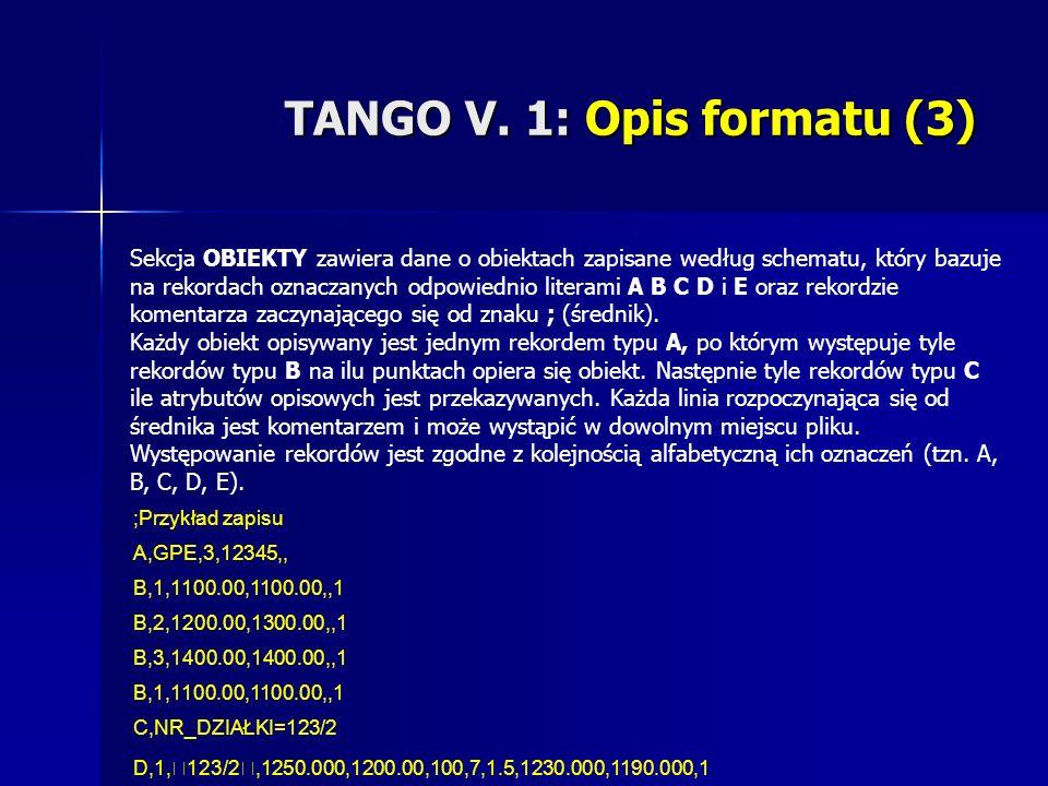 TANGO V. 1: Opis formatu (3) Sekcja OBIEKTY zawiera dane o obiektach zapisane według schematu, który bazuje na rekordach oznaczanych odpowiednio liter