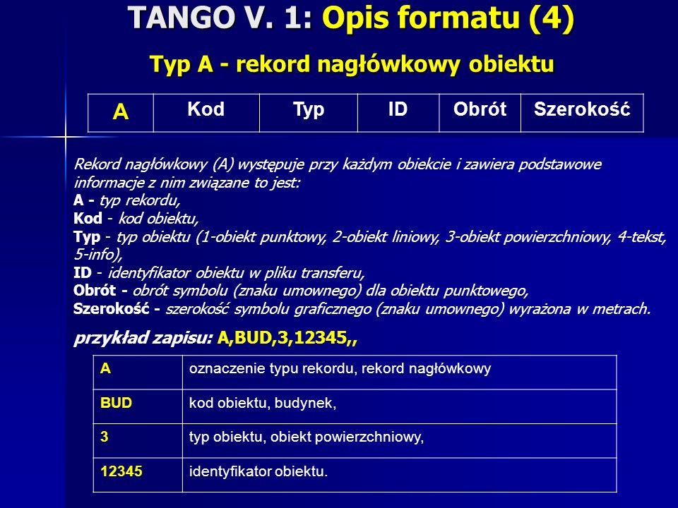 TANGO V. 1: Opis formatu (4) Typ A - rekord nagłówkowy obiektu A KodTypIDObrótSzerokość Rekord nagłówkowy (A) występuje przy każdym obiekcie i zawiera