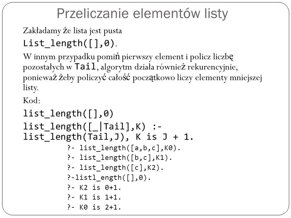 Przeliczanie elementów listy Zakładamy ż e lista jest pusta List_length([],0). W innym przypadku pomi ń pierwszy element i policz liczb ę pozostałych