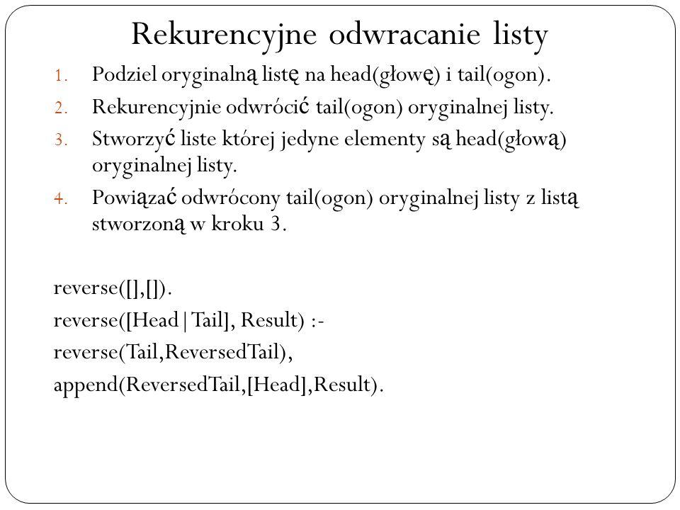 Rekurencyjne odwracanie listy 1. Podziel oryginaln ą list ę na head(głow ę ) i tail(ogon). 2. Rekurencyjnie odwróci ć tail(ogon) oryginalnej listy. 3.