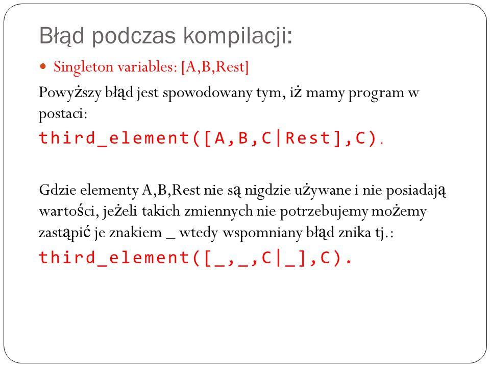 Błąd podczas kompilacji: Singleton variables: [A,B,Rest] Powy ż szy bł ą d jest spowodowany tym, i ż mamy program w postaci: third_element([A,B,C|Rest],C).