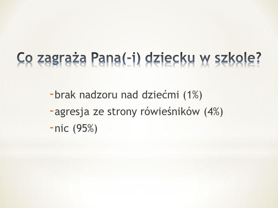 - brak nadzoru nad dziećmi (1%) - agresja ze strony rówieśników (4%) - nic (95%)
