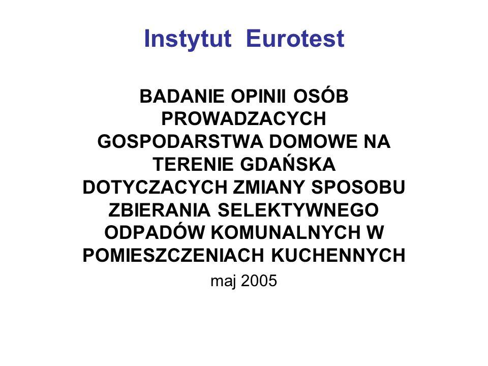 Instytut Eurotest BADANIE OPINII OSÓB PROWADZACYCH GOSPODARSTWA DOMOWE NA TERENIE GDAŃSKA DOTYCZACYCH ZMIANY SPOSOBU ZBIERANIA SELEKTYWNEGO ODPADÓW KOMUNALNYCH W POMIESZCZENIACH KUCHENNYCH maj 2005