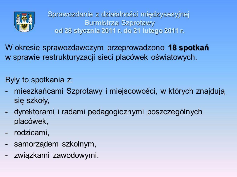 Sprawozdanie z działalności międzysesyjnej Burmistrza Szprotawy od 28 stycznia 2011 r. do 21 lutego 2011 r. 18 spotkań W okresie sprawozdawczym przepr