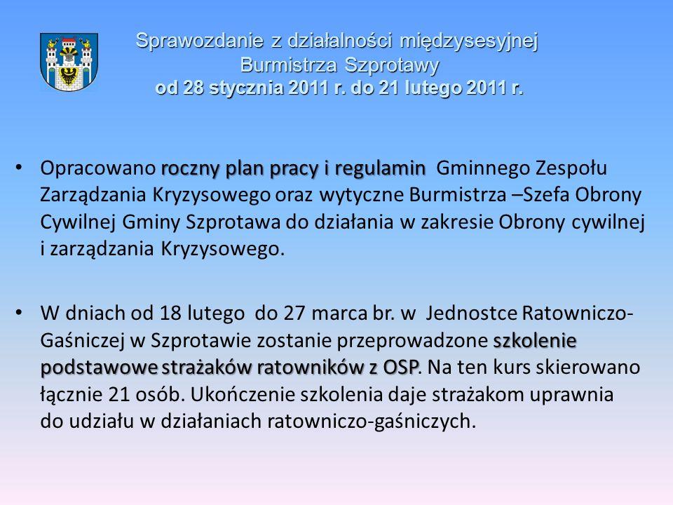 Sprawozdanie z działalności międzysesyjnej Burmistrza Szprotawy od 28 stycznia 2011 r. do 21 lutego 2011 r. roczny plan pracy i regulamin Opracowano r