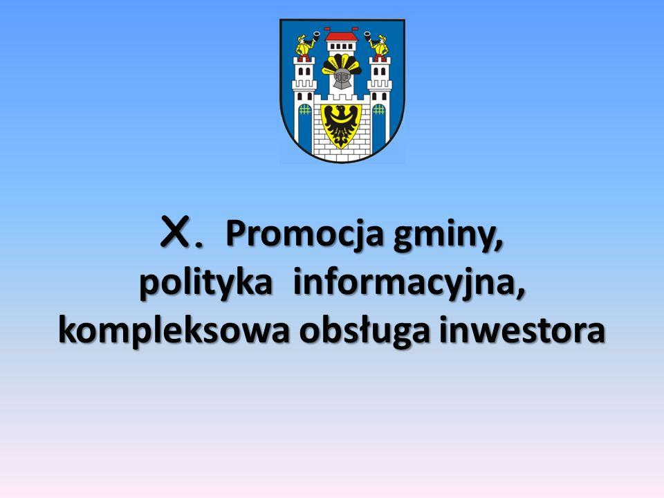 X. Promocja gminy, polityka informacyjna, kompleksowa obsługa inwestora