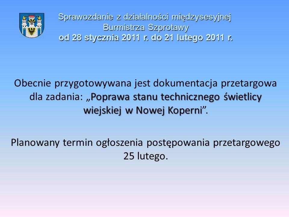 Sprawozdanie z działalności międzysesyjnej Burmistrza Szprotawy od 28 stycznia 2011 r. do 21 lutego 2011 r. Poprawa stanu technicznego świetlicy wiejs