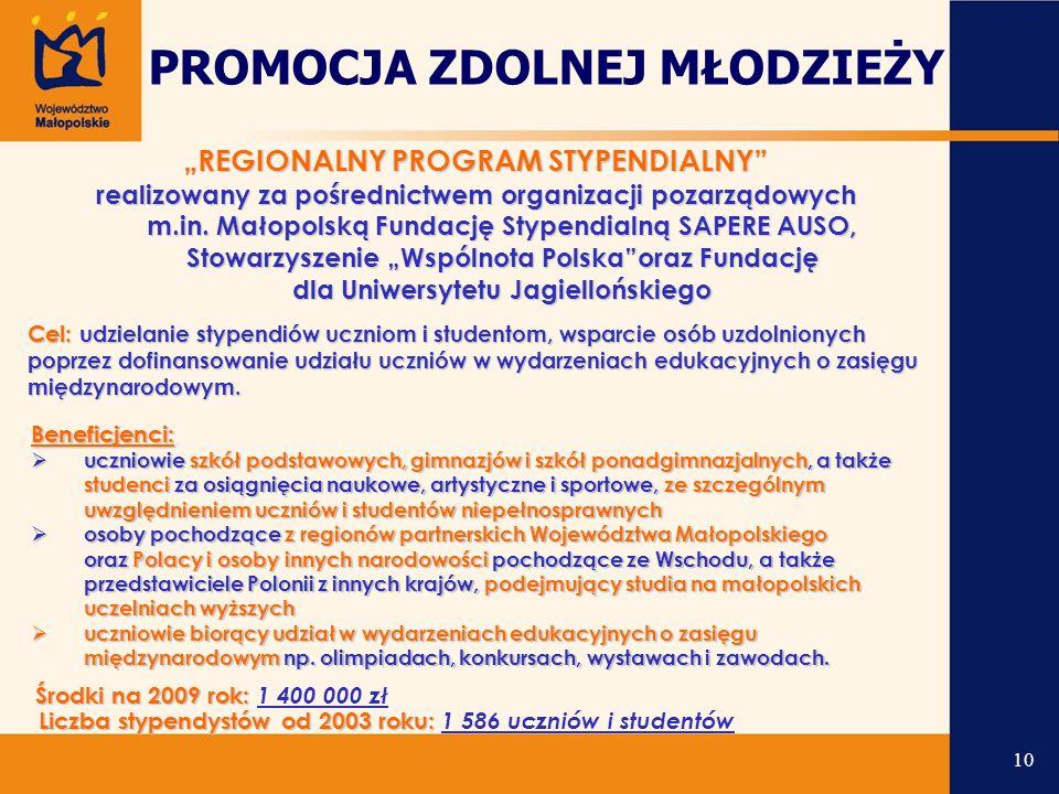 """""""REGIONALNY PROGRAM STYPENDIALNY realizowany za pośrednictwem organizacji pozarządowych m.in."""
