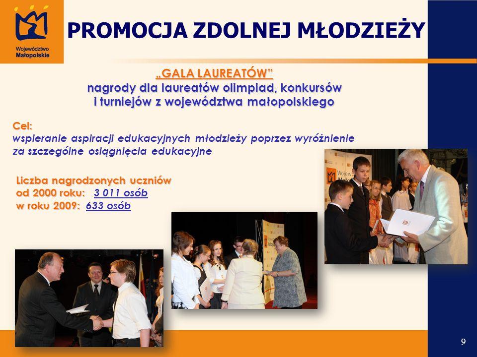 """""""GALA LAUREATÓW nagrody dla laureatów olimpiad, konkursów i turniejów z województwa małopolskiego Liczba nagrodzonych uczniów od 2000 roku: Liczba nagrodzonych uczniów od 2000 roku: 3 011 osób w roku 2009: w roku 2009: 633 osób Cel: wspieranie aspiracji edukacyjnych młodzieży poprzez wyróżnienie z a szczególne osiągnięcia edukacyjne PROMOCJA ZDOLNEJ MŁODZIEŻY 9"""