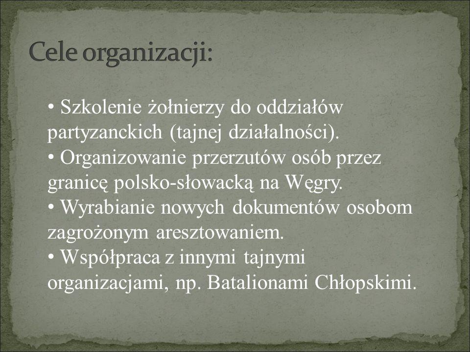 Szkolenie żołnierzy do oddziałów partyzanckich (tajnej działalności). Organizowanie przerzutów osób przez granicę polsko-słowacką na Węgry. Wyrabianie
